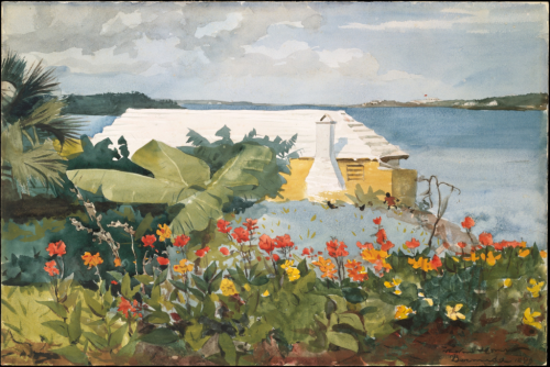 winslow homer_flower garden and bungalow